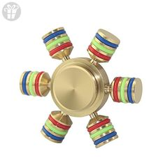 6 Sided Metallic Fidget Spinner Toy - Customizable, Glow in the Dark Anxiety, Stress Reducer, Gift for ADHD ADD Autism Adult Kids (gold - colorful) - Fidget spinner (*Amazon Partner-Link)