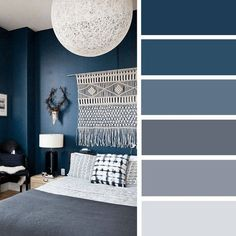 Lucky 13 Cool Bedroom Gadgets to Enhance Your Sleep Quality The Best Color Schemes for Your Bedroom,The Best Color Schemes for Your Bedroom,navy blue white and grey abedroom color palette Bedroom Paint Colors, Gray Bedroom, Home Decor Bedroom, Bedroom Wall, Living Room Decor, Bedroom Ideas, Bedroom Apartment, Trendy Bedroom, Design Bedroom