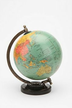 Description: Study up on your geography with this mini globe - featuring a solid, circular base and semi-meridian mount. Includes striking details, like ocean currents, capital cities and railways.