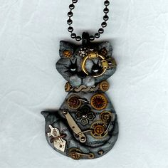 Steampunk Gray Tabby Cat Necklace