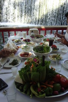 Wonderful Middle Eastern food at a restaurant in Anjar, Lebanon