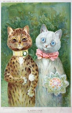 Chats mariés de Louis Wain