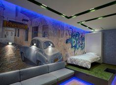wandgestaltung jugendzimmer junge wandmalerei blaue led beleuchtung decke wandleuchten