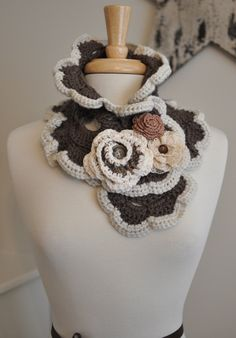 Gorgeous+Scarf+Scarflette+Shabby+Chic+Flowers+por+TheIvoryOwl,+$60,00