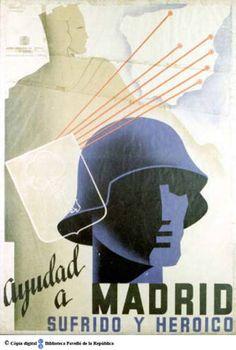 Ayudad a Madrid : sufrido y heroico :: Cartells del Pavelló de la República (Universitat de Barcelona)