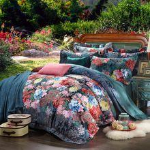 US $76.88 100% cotton bule jacquard floral luxury bedding sets queen king size duvet cover bed sheet set,bed set bed linen. Aliexpress product