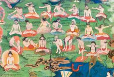 "A detail from the murals in the Dalai Lamas' private meditation chapel, painted circa 1700, in the Lukhang Temple situated on an island in a pond on the back side of the Potala Palace, Lhasa, Tibet. These murals were used to initiate the Dalai Lamas into yoga and meditation practices in the Dzogchen school of Tibetan Buddhism. This detail depicts yogis in twenty three yoga positions, fully described in the text: ""The Secret Keys of the Channels and Winds""."