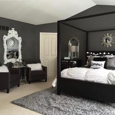 Wishing everyone a goodnight with the perfect black and white bedroom designed by @haneens_haven #shesbeautifulandtalented ️... - Interior Design Ideas, Interior Decor and Designs, Home Design Inspiration, Room Design Ideas, Interior Decorating, Furniture And Accessories
