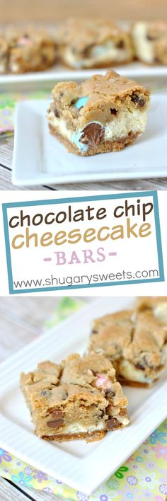Chocolate Chip Cheesecake Bars with a graham cracker base, creamy cheesecake filling and delicious cookie crunch.: