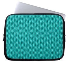 Cyan and teal triangles pattern laptop sleeves