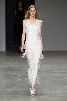 New York Fashion Week Spring 2014 Oscar de la Renta Runway Crochet White Dress - Best New York 2014 Runway Fashion - Harper's BAZAAR