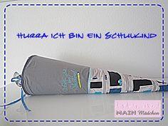 Schultüte Autos mit Stickerei aus Stoff von Main Mädchen auf DaWanda.com