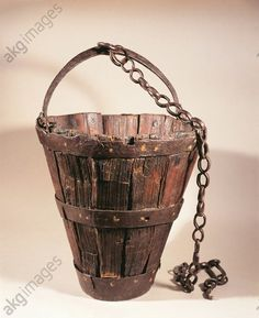 Wood bucket France, Alise-sainte-reine, Musee Alesia (Archaeological Museum), Gallo-Roman civilization
