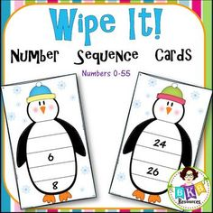 Penguin Number Sequence CardsThis number sequence card set contains 52 colorful winter penguin printable cards that focus on sequencing numbers 0-55. Students will identify and write in the missing numbers for each card to complete the number sequence.You may choose to write the correct sequence on the back of each card so students can self check.These number sequencing cards will create an engaging center activity.Simply print on cardstock, cut apart, and laminate.Students can use dry…
