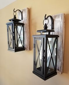 This listing is for one set of two MEDIUM wooden wall-mounted sconces with metal hook and lantern. Candles are NOT included. The wooden sconce is made Rustic Walls, Wooden Walls, Farmhouse Wall Sconces, Sconces Living Room, Wooden Lanterns, Wall Lantern, Lantern Lighting, Rustic Lighting, Architecture
