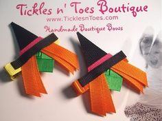 Halloween Hair Bows For Your Little Pumpkin Ribbon Hair Clips, Ribbon Hair Bows, Diy Hair Bows, Halloween Hair Clips, Halloween Bows, Halloween Ribbon Sculpture, Boutique Hair Bows, Making Hair Bows, Ribbon Crafts