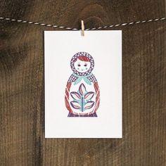 SALE  Matryoshka Nesting Doll Digital Woodblock por pressbound, $7.25