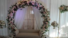 Simple Stage Decorations, Engagement Stage Decoration, Wedding Stage Decorations, Backdrop Decorations, Decor Wedding, Diy Backdrop, Backdrops, Floral Backdrop, Floral Arch