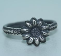 Silver Ring  Handmade  Recycled Metal  Flower by RecycleCreate, $20.00