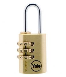 Y150 Combination Padlock  Padlock with re-settable combination. Steel chrome plated shackle and solid brass body
