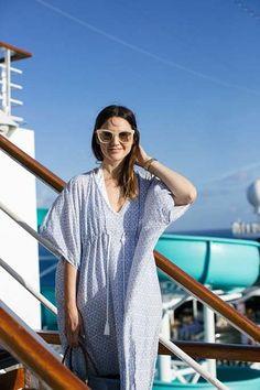Caroline styles a kaftan from the Mara Ferreira x Morning Lavender Collection Summer Of Love, Summer Tops, Summer Vacation Packing, Cute Sun, Nordstrom Sale, Nautical Stripes, Striped Shorts, Summer Trends, Cool Suits