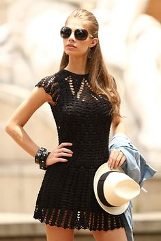 Fabulous Crochet a Little Black Crochet Dress Ideas. Georgeous Crochet a Little Black Crochet Dress Ideas. Black Crochet Dress, Crochet Blouse, Knit Dress, Crochet Top, Crochet Summer, Lace Dress, Stylish Dresses, Fashion Dresses, Mode Crochet