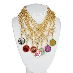 Gold Link Necklace with Gold Enamel Colorful by JewelryTrinkets, $45.99