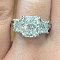 Diamond of the Day: a three stone 3 carat radiant cut!  Love this!