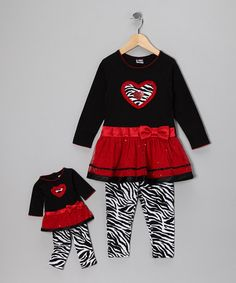 Take a look at this Red Zebra Heart Leggings Set & Doll Outfit - Toddler & Girls by Cupid's Cuties: Kids' Apparel & Accents on #zulily today!