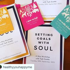 Gutsy Mantras make great gifts for your workshop gifts and goodie bags! Contact me to order yours. Wholesale orders also welcome.  #Regram @healthyyouhappyme.  Prepping for tonight's goal-setting workshop in Echuca! I can't wait to chat with an intimate group of ladies and support them to create soulful meaningful goals for the rest of 2015. Huge thanks to Sharyn from @gutsygirlart for your beautiful affirmation cards. Everyone is going to take one of these lovely messages home! #goalsetting…