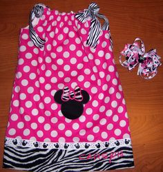 Custom Minnie Mouse Dress and Bow  @Sharon Poulsen, I know someone who would like this!