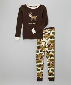 Look at this #zulilyfind! Green Camo 'Young Buck' Pajama Set - Toddler & Boys by Lazy One #zulilyfinds