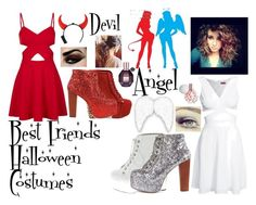 """""""Halloween Costumes - Best Friends (Devil & Angel)"""" by wikianna ❤ liked on… Halloween Costumes For Bffs, Halloween Queen, Halloween 2017, Halloween Makeup, Angel And Devil Costume, Best Friend Costumes, Viktor Rolf, Halloween Disfraces, Jeffrey Campbell"""