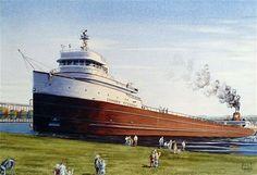The Maiden Voyage - The Edmund Fitzgerald 1958. Artist Ed Labernik
