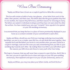 Wedding Ceremony Wine Box Ritual What It Is And How To Do Weddings