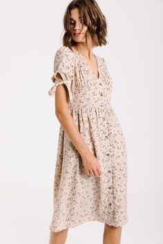 fecdc018ac0 Piper   Scoot  The Rockefeller Floral Tie Sleeve Dress in Natural Floral Tie