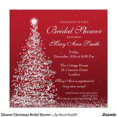 Elegant Christmas Bridal Shower Red Silver 5.25x5.25 Square Paper Invitation Card