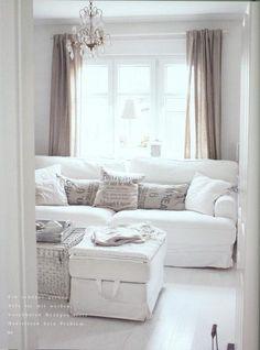 White sofa, pillows