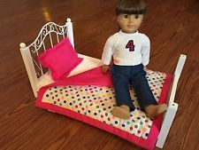American Girl Doll Bed & Bedding White Wood 20