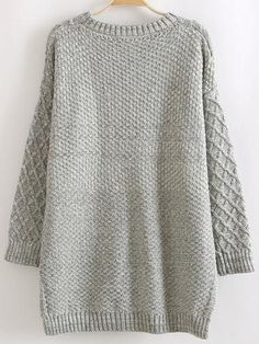 Shop Grey Round Neck Dip Hem Cable Knit Pockets Sweater online. SheIn offers Grey Round Neck Dip Hem Cable Knit Pockets Sweater & more to fit your fashionable needs.