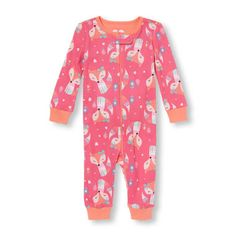 Baby And Toddler Girls Long Sleeve Fox Print Stretchie