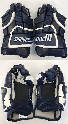 45d52f14831 Gloves 20853  New Ryr Ice Hockey Player Gloves Winterhawks Navy White  Senior 14 Sr Size