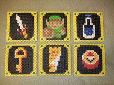 DIY Perler bead Legend of Zelda coasters. Yeah, I need Perler beads ASAP.