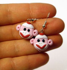 Pink Sock Monkey Earrings Made to Order Polymer Clay
