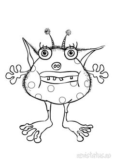 vector of cartoon spotted and horned monster outlined coloring ... - Monsters Coloring Pages Printable