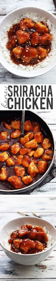 Sweet and spicy Chinese honey sriracha chicken -?? better tasting and healthier than take out... Just read the reviews on this amazing recipe!  