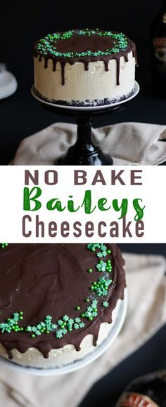 This No Bake Baileys Cheesecake recipe is the perfect pudding for parties or a delicious dessert for Christmas dinner! A light, easy make treat combining Irish cream liqueur with a chocolate topping. desserts for christmas Dinner Party Desserts, Köstliche Desserts, Dessert For Dinner, Delicious Desserts, Dessert Recipes, Christmas Dinner Dessert Ideas, Diner Recipes, Christmas Ideas, Xmas