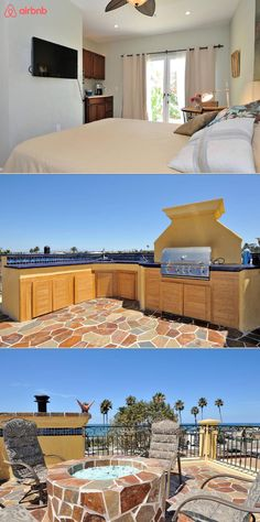 This private apartment is in a beautiful four story mediterranean home with a  rooftop deck. You'll have gorgeous sunset views of the ocean, pier, and harbor. Enjoy the luxurious interior with it's marble shower, wood floors, and french doors.