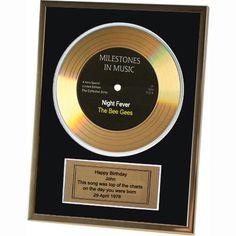 Goldene Schallplatte Gerahmt Personalisiert Geburtstag 18 21 40 50 60 Geschenk in Musik, Fanartikel & Merchandise, Sonstige | eBay