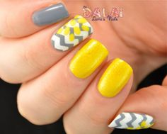 BIRTHDAY NAILS! maybe not yellow, but LOVE the grey and chevron